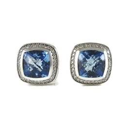 David Yurman Sterling Silver with 0.49ct. Diamond and Blue Topaz Albion Earrings