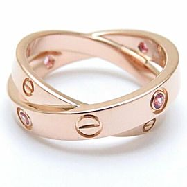 CARTIER 18K Pink Gold Pink Sapphire Love Ring CHAT-1188