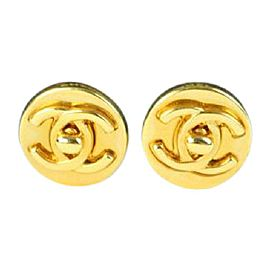 Chanel CC Turnlock Gold Tone Metal Earrings