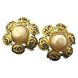Chanel 94P CC Gold Tone Metal Simulated Glass Pearl Flower Earrings