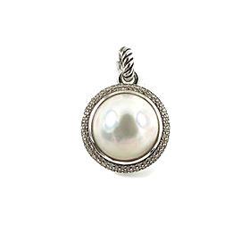 David Yurman Sterling Silver Cultured Mabe Pearl Diamond Pendant