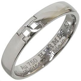 """HERMES """"H"""" Logo Hercules Ring in 18K White Gold US6.5"""
