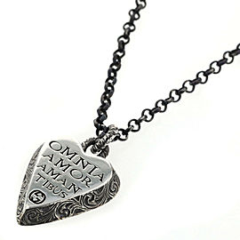 GUCCI 925 silver Engraving heart Necklace