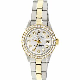 Rolex Datejust Ladies 2-Tone Yellow Gold/Steel 26MM Automatic Oyster Watch w/Silver Diamond Dial & Bezel