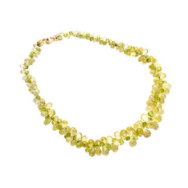 18k Yellow Gold Peridot Citrine Briolette Necklace