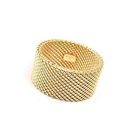 Tiffany & Co. 18K Yellow Gold Somerset Mesh Wide Band Ring Size 8