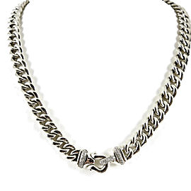 "David Yurman Sterling Silver .33tcw 18"" Curb Link Diamond Buckle Necklace"