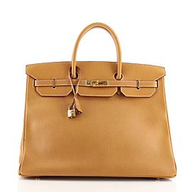 Hermes Birkin Handbag Natural Ardennes with Gold Hardware 40