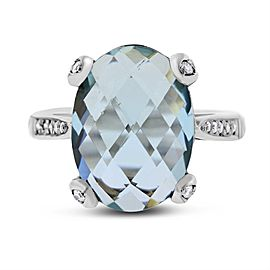 18k White Gold 5.21ct. Oval Aquamarine & Diamond Ring Size 6.5