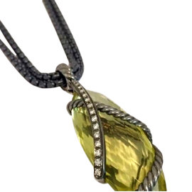 David Yurman Cable Wrap Lemon Citrine and Diamonds pendant Necklace