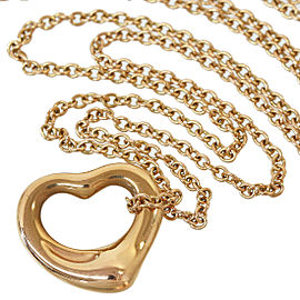 TIFFANY&CO. 18k Yellow Gold Elsa Peretti Open Heart Pendant Necklace
