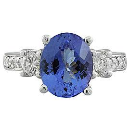 3.95 Carat Tanzanite 14K White Gold Diamond Ring