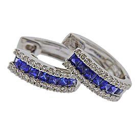 Gold Diamond Sapphire Hoop Earrings