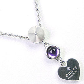 GUCCI 925 Silver/amethyst heart Necklace NST-1095