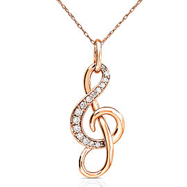 Diamond Musical Note (Treble Clef) Pendant & Chain in 14K Gold - rose-gold