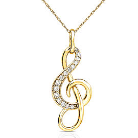 Diamond Musical Note (Treble Clef) Pendant & Chain in 14K Gold - yellow-gold