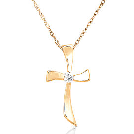"Diamond Cross Pendant in 14K Gold (18"" Chain) - yellow-gold"
