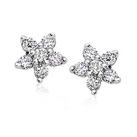 Diamond Floral Stud Earrings 1/6 carat (ctw) in 14k White Gold