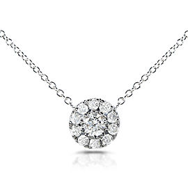 """Diamond Cluster Necklace 1/3 Carat (ctw) in 14K White Gold (16"""" Chain) - white-gold"""