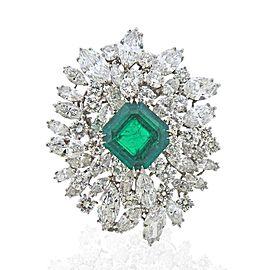 Bulgari Certified 6.61 Carat Colombian Emerald Diamond Platinum Brooch