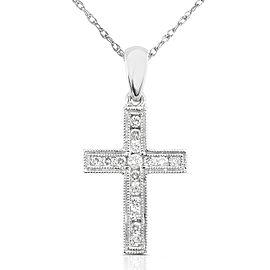 "Diamond Cross Pendant 1/6 carat (ctw) in 14K Gold (18"" Chain) - white-gold"