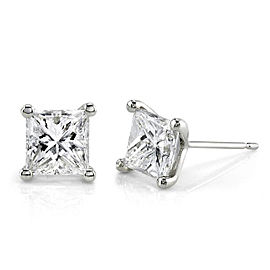 1-1/2 CTW Princess Diamond Studs 14k Gold - white-gold