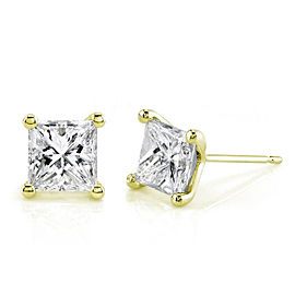 1-1/2 CTW Princess Diamond Studs 14k Gold - yellow-gold