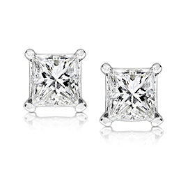 1/2ct.tw Princess Diamond Stud Earrings 14K White or Yellow Gold - white-gold