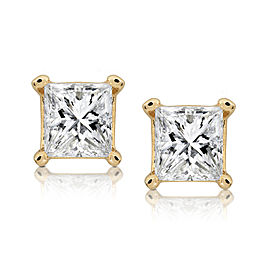 1/2ct.tw Princess Diamond Stud Earrings 14K White or Yellow Gold - yellow-gold