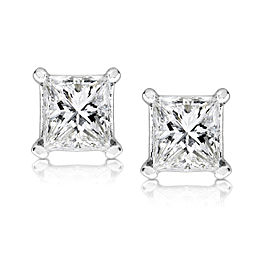 3/4ct.tw Princess Diamond Stud Earrings 14K White or Yellow Gold - white-gold