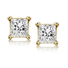 3/4ct.tw Princess Diamond Stud Earrings 14K White or Yellow Gold - yellow-gold