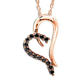 Black Diamond Heart Pendant 1/5 Carat (ctw) in 14K Rose Gold