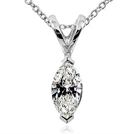 Diamond Solitaire Marquise 1/4 Carat Pendant in 14K White Gold