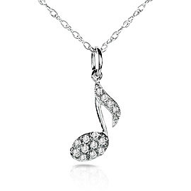 Diamond Musical Symbol (Eighth Note) Pendant & Chain in 14K White Gold - white-gold