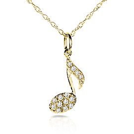 Diamond Musical Symbol (Eighth Note) Pendant & Chain in 14K White Gold - yellow-gold