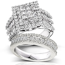 Kobelli Diamond Engagement Ring and Wedding Band Set 2 5/8 carats (ctw) in 14K White Gold