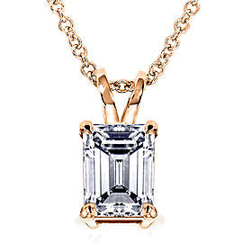 Emerald-Cut Diamond Pendant 1 Carat (ctw) in 14K Gold - rose-gold