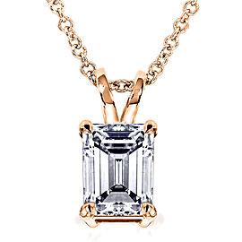 Emerald-Cut Diamond Pendant 1 Carat (ctw) in 14K Gold - rose-gold