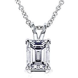 Emerald-Cut Diamond Pendant 1 Carat (ctw) in 14K Gold - white-gold