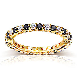 Black and White Diamond Eternity Band 1 carat (ctw) in 14K Yellow Gold