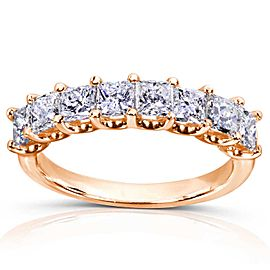 Princess Diamond Wedding Band 1 1/2 carat (ctw) in 14K Gold - rose-gold