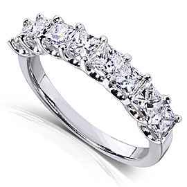 Princess Diamond Wedding Band 1 1/2 carat (ctw) in 14K Gold - white-gold
