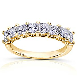 Princess Diamond Wedding Band 1 1/2 carat (ctw) in 14K Gold - yellow-gold