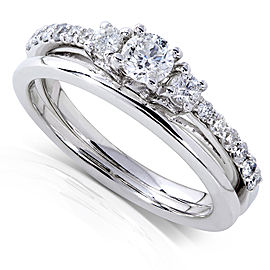 Round Diamond Three-Stone Bridal Set 1/2 Carat (ctw) in 14k White Gold