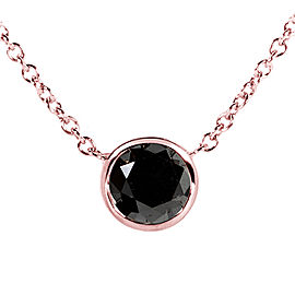 "Black Diamond Solitaire 1 Carat Round Bezel Necklace in 14K Gold (16"" Chain) - rose-gold"