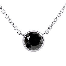 "Black Diamond Solitaire 1 Carat Round Bezel Necklace in 14K Gold (16"" Chain) - white-gold"