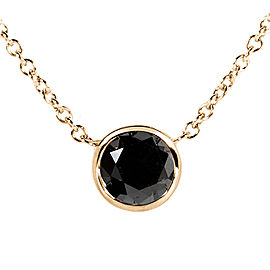 "Black Diamond Solitaire 1 Carat Round Bezel Necklace in 14K Gold (16"" Chain) - yellow-gold"