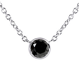 "Black Diamond Solitaire 1/4 Carat Round Bezel Necklace in 14K White Gold (16"" Chain)"
