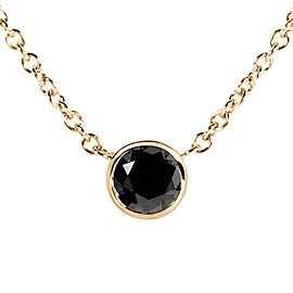 "Black Diamond Solitaire 1/4 Carat Round Bezel Necklace in 14K Yellow Gold (16"" Chain)"