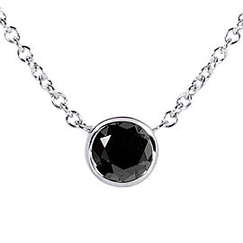 "Black Diamond 1/2 Carat Solitaire Bezel Necklace in 14K White Gold (16"" Chain)"